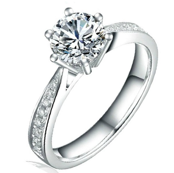 1carat 18K White Gold Woman Moissanit Ring/ Natural Diamond for Side Stone / Engagement Wedding Anniversary Gift-112